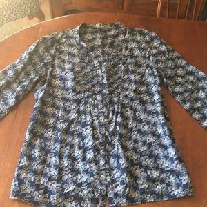 GAP cotton navy print blouse